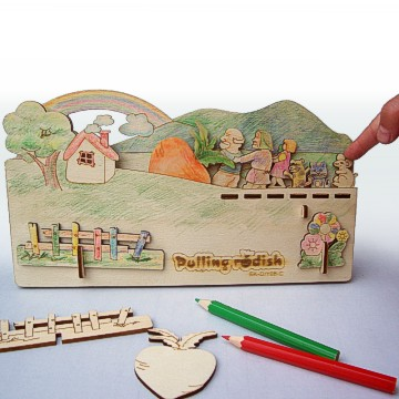 DIY Plywood Toys of Fairy Story--Pulling Radish(With 12 color pencils)